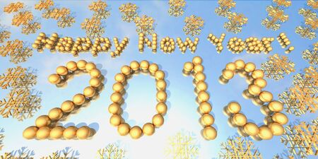 Letters and numbers made up of golden balls are shown in the image. Stock Photo - 16593308