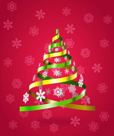 Stylized Christmas tree from ribbons is on the winter background Stock Vector - 16661206