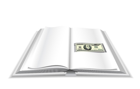 Cash stash in the book is shown in the image. Vector