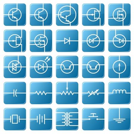 componentes electronicos: S�mbolos de los componentes electr�nicos se muestra en la imagen.