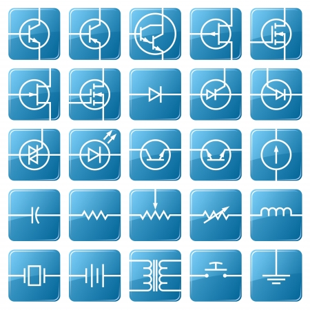 Symbols of electronic components are shown in the picture. Vector