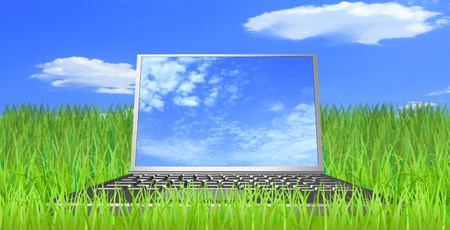 Computer, grass, sky and clouds are shown in the image