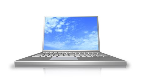 Laptop on the white background is shown in the image. Stock Photo - 17380739