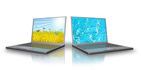 Two modern laptops are isolated on a white background. photo