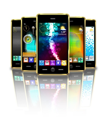 Mobile phones are on the white background  Foto de archivo