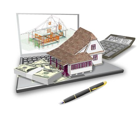 Laptop, house design, calculator are shown in the picture