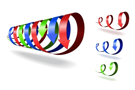 Set of red, blue, green spiral arrows on white background.