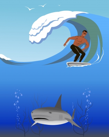 Surfer and a shark in the ocean are shown in the image. Stock Vector - 17727157