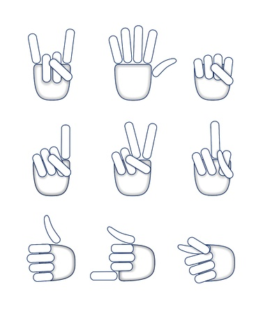 Various hand gestures are shown in the picture. Stock Vector - 18016783