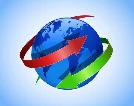 Globe and red and green arrows are shown in the image. Vector