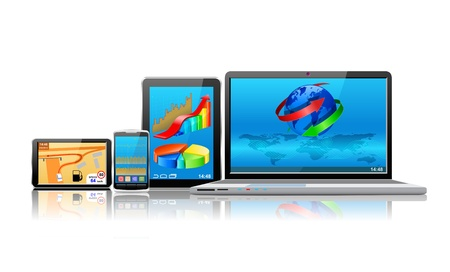 Laptop, tablet pc, mobile phone and navigator are shown in the image. Vectores