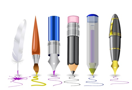 Quill, pens, pencil, brush are shown in the image.