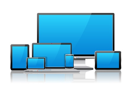Laptop, tablet pc, mobile phone and navigator are shown in the image. Ilustração