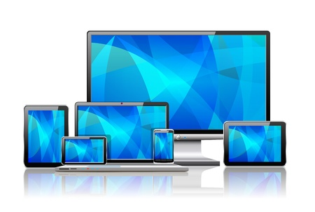 Laptop, tablet pc, mobile phone and navigator are shown in the image. Vector