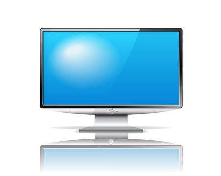 Modern TV is on the white background. Vector