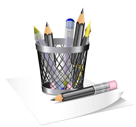 Steel bin with writing tools is on white background. Vector