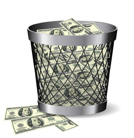 Steel paper bin with bills is on white background.