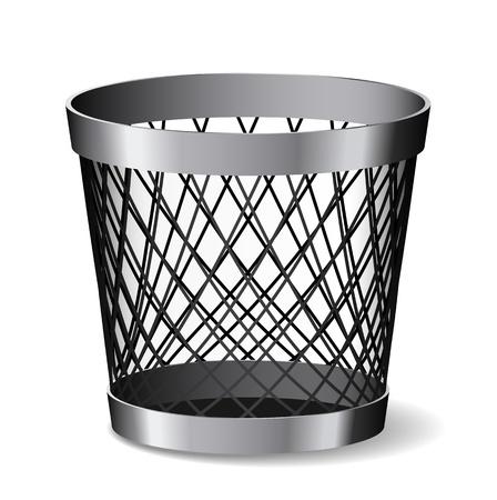 Steel paper bin is on white background.
