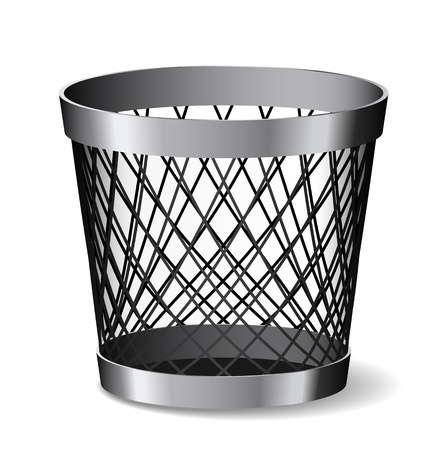 Steel paper bin is on white background.