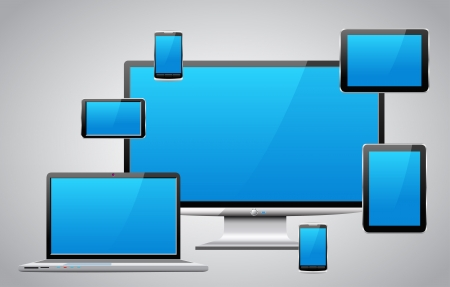 Laptop, tablet pc, mobile phone and navigator are shown in the image. Illustration
