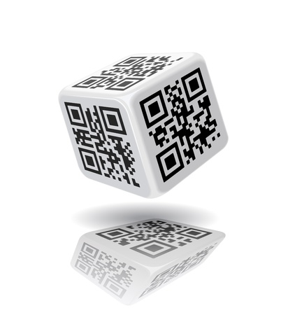 QR-code cube is on the white background