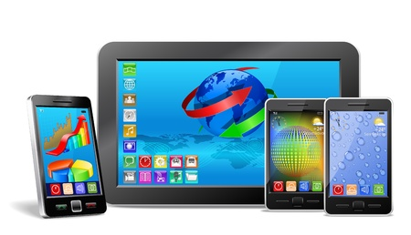 tablet pc, mobile phone and navigator are shown in the image. Stock Photo