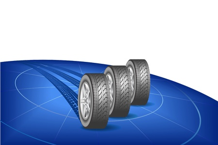 Modern tires are shown in the image Stock Vector - 20579555