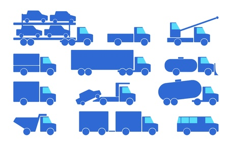 Types of trucks are on the white background  Vector