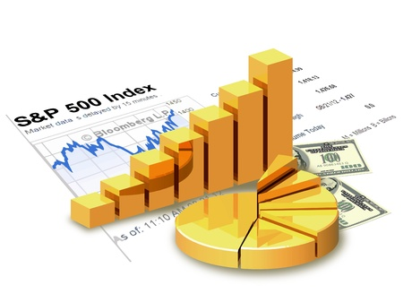 investment concept: Gold chart, money, financial statement are on white background