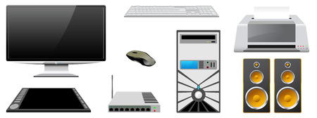 Computer case, monitor, printer, router, keyboard, mouse, speakers, graphics tablet are isolated on white background