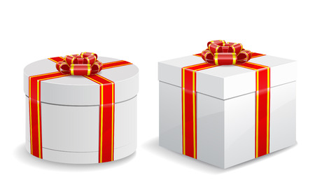 Square and round gift boxes with red bows and ribbons are isolated on white background  Vector