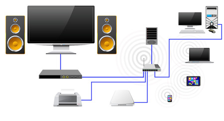 nas: Concrpt home network with the server data store as stylized icons