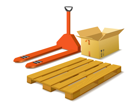 Manual forklift, box, wood pallet as warehouse concepts on white background  Vector