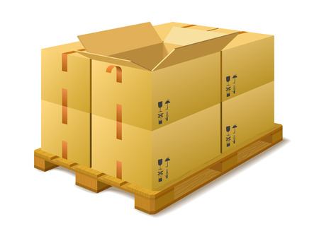 Cardboard boxes on a pallet in a warehouse on a white background