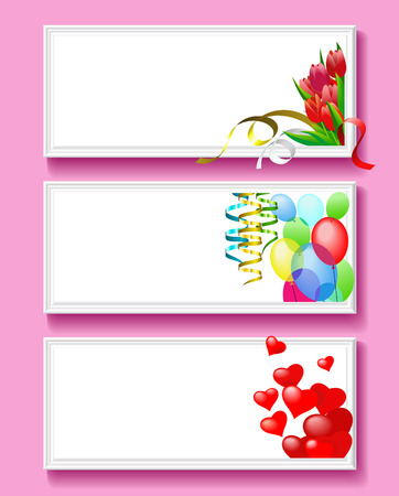 Greeting card for Valentines Day as frames in baguette. Vector