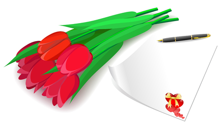 Red tulips and love letter as a gift for Valentines Day. Vector