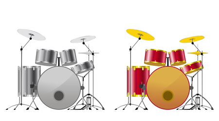 Drum sets black-and-white and color on white background.