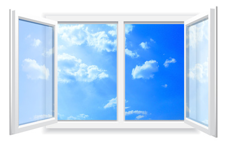 Open window on white wall and the cloudy sky