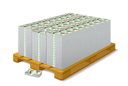 money packs: Pack of banknotes on a wooden pallet are on white background.