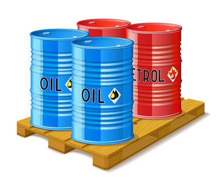 Wooden pallet, metal barrels with oil and gasoline are on white background.