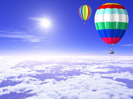 Schöne, helle Luftballons in den sonnigen Himmel über den Wolken. Standard-Bild - 27785701
