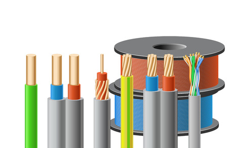 solid wire: Different kinds of cables are on white background.