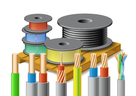 Different kinds of cables are on wooden pallet on white background.