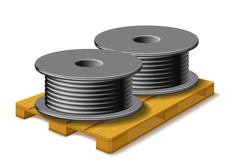 solid wire: Coils with a black cord are on a wooden pallet on white background. Illustration
