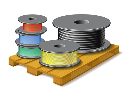 solid wire: Different kinds of cables are on wooden pallet on white background.