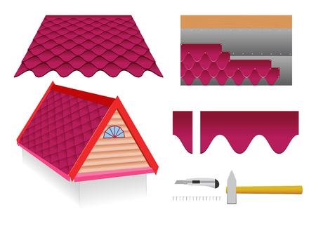 tile roof: Morbido tetto di tegole e strumenti di costruzione su uno sfondo bianco.