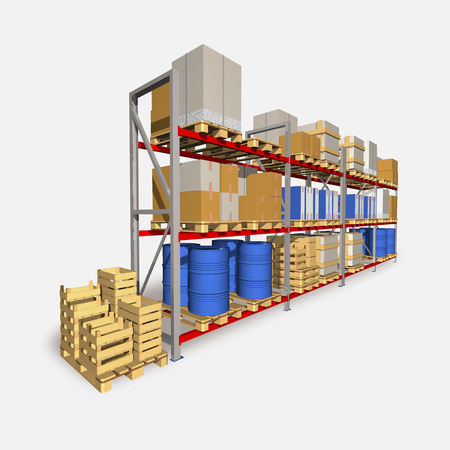 Storage racks and pallets with various products are shown at picture.