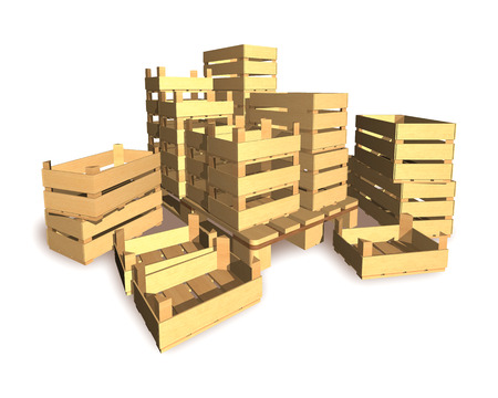 stockpile: Boxes for packing a harvest of vegetables and fruit are on white background. Stock Photo