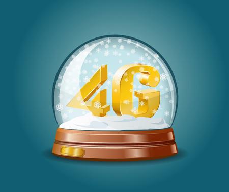 4g: 4G mobile communications standard as christmas gift in snow globe. Illustration