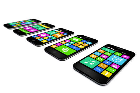 Black smartphones with a variety of software applications are on white background. photo